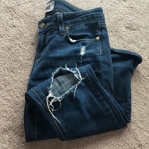 Paige busted knee denim jeans